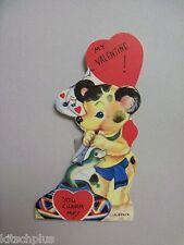 Vtg Valentine Card 40's Teddy Bear Cobra Snake Charmer Unused