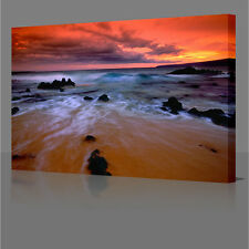 "16x12"" Red Sea Water Sunset  Large A3 Framed Canvas Wall Art Picture Print 16x12"