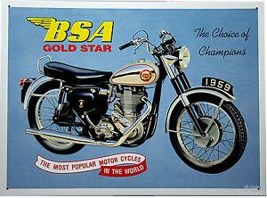 BSA Gold Star Motorcycle Bike Oldtimer Racing Poster British Deko  Schild *096