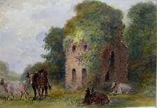 ENGLAND CATTLE BY A RUINED CASTLE W/COL J  WILSON 1877