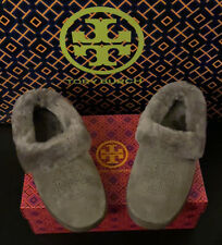 NEW Tory Burch Coley Suede Shearling-Lined Slipper (Size 7) Grey
