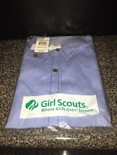 Girl Scouts Brownies Size 10 BR Short Sleeve Plus Collared Button Down Blue