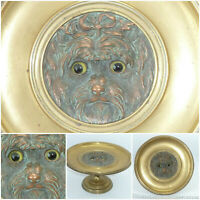 Antique Gilt Bronze Tazza Yokshire Terrier Dog Yorkie Bowl Dish