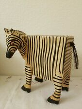 """Vintage Handcrafted Zebra Wood Bank Sliding Compartment 6.75"""" Tall"""