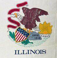 Vintage Storm King Illinois State Flag Eagle  1868 - 1818 Cotton Screen Print 5'