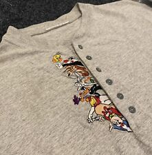 Vintage 1998 Gray Looney Tunes Henley Long Sleeve T Shirt Sz L Cartoon Rare 90s