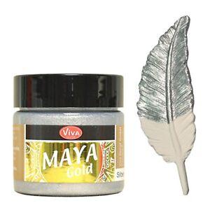 Maya Gold 45ml Silber, Acrylfarbe mit Metallic Effekt für Holz Pappe Beton