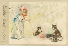 EDWARDIAN GIRL WITH CATS AND BALL OF WOOL pu 1904