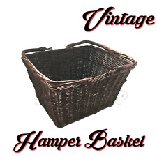 Wicker Weave Storage Basket Brown with Handles Kitchen Log Hamper Vintage Retro