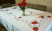 """72x144"""" Large Holiday Christmas Party Embroidery Poinsettia Tablecloth 12 Napkin"""