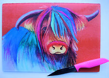 Unique Red Glass Chopping Board with a HIGHLAND COW  design by artist Maria Moss