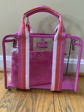Kate Spade Sam See-Through Medium Satchel Pink Clear with Pouch HANDBAG NWT