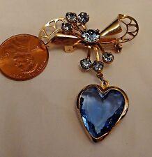 """Vintage Brooch Sweetheart Blue Glass Cut Pattern 1940""""s"""