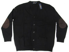 Polo Ralph Lauren Mens Wool Leather Elbow Patch Navy Grey Black Cardigan Sweater