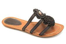 Clarks Surf Coast Women's UK 6 D Width Brown Ebony Leather Floral Flat Sandals