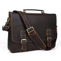 "Men Genuine Leather 16"" Laptop Attache Briefcase Business Shoulder Messenger Bag"