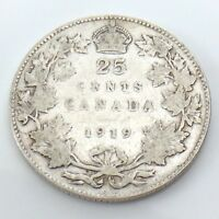 1919 Canada 25 Twenty Five Cents Quarter Silver King George V Canadian Coin G742