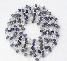 5 Feet Natural IOLITE Gemstone Beads Silver Plated Rosary Link Chain For Sale.