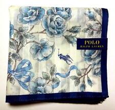POLO Ralph Lauren Handkerchief hanky scarf bandana Blue Flowers Auth New
