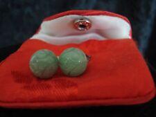 Vintage Jade Carved Ball Post Earrings