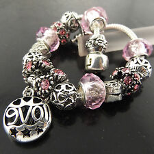 CHARM BRACELET BANGLE GENUINE 925 STERLING SILVER S/F PINK SAPPHIRE BEAD DESIGN