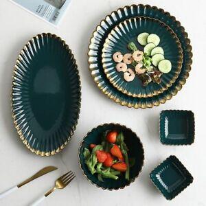 Ceramic Plate Dish Tableware Porcelain Salad Food Bowl Gold Rim Kitchen Supplies