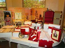 Large American girl Doll Samantha lot Retired original boxes Brass bed wood desk