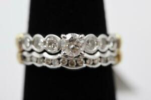 GORGEOUS AUTHENTIC DIAMOND 1CTW 14K SOLID WHITE & YELLOW GOLD ENGAGEMENT SETTING