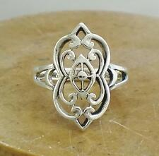 STUNNING STERLING SILVER UNIQUE FILIGREE RING size 7  style# r0518