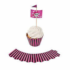 Pink Pirate Cupcake Wrappers With Picks - Party Supplies - 100 Pieces