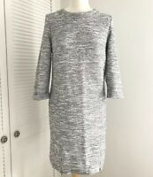 M&S Jumper Dress Size 12 Knitted Marl Grey 3/4 Sleeve Mini Bodycon Zippers