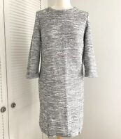 M&S Knitted Jumper Size 12 Grey Marl Dress 3/4 Sleeve Mini Bodycon Zippers