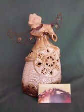 Candle Holder Angel Stoneware Pottery Votive Tea Glazed Pottery Metal Wings Harp