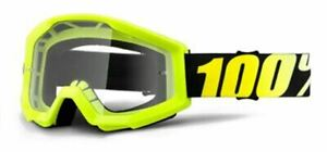 Ride 100% Strata JR Neon Yellow MX Goggle with Clear Lens, NEW!