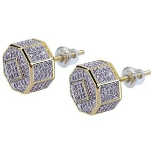 Hip Hop Punk Men's Geometric Octagon Stud Earrings 18K Plated Full White Zircon