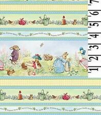 Beatrix Potter Fabric Peter Rabbit Benjamin Bunny Victorian Nursery Stripe