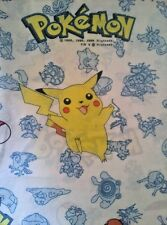 Vintage Pokemon Twin Flat Bed Sheet Fabric PIKACHU Nintendo Cotton Blend
