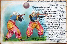 1903 Clown Postcard: Playing Violin/Music w/Mop, Sun & Moon Pants, Color Litho