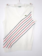 Vintage LACOSTE Sleeveless V-Neck Jumper White Size 3 Pullover Knit Sweater BA81
