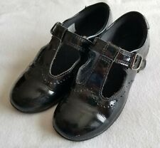 Clarks Girls Patent Leather Mary Jane Style Black School Shoes Size 10.5F/EU28.5