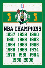 Boston Celtics 17-TIME NBA CHAMPIONS Official Commemorative Wall POSTER
