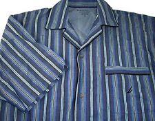 Nautica Men's 100% Cotton Blue Striped Short Sleeve Button-Up Nightshirt Size S