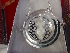 Harry Potter Silver Time Turner Hermione Granger Rotating Hourglass White Sand!