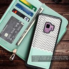 Samsung Galaxy S9 Wallet Case Detachable Leather Purse Zipper Pocket Mint ZigZag
