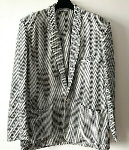 """FRENCH CONNECTION Herringbone Beige Black Woven Soft Jacket 44""""Ch Cotton Native"""
