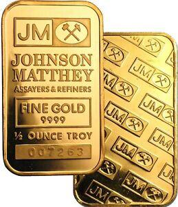 Johnson Matthey 1/2 oz .9999 Fine Gold Bar NEW Sealed
