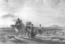 FARM FAMILY w HORSE & DOG ON BEACH SEA COAST LOW TIDE ~ 1848 Art Print Engraving