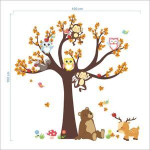 Jungle Animal Monkey Bear Owl Tree Decal Wall Sticker Children's Bedroom