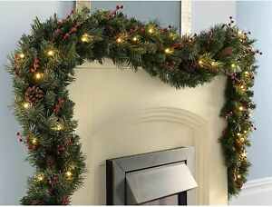 9ft Christmas Garland with LED Lights Fireplace Outdoor Fence Door DIY Decor UK