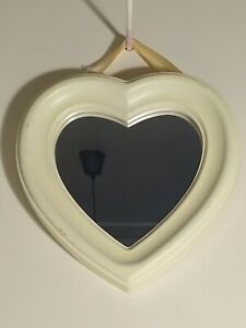 Small Wooden Framed Heart Shaped Mirror - Cream - Wall Hanging - 23 cm Wide